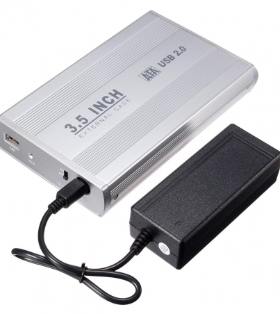 Wholesale- 3.5 inch Silver USB 2.0 SATA External HDD HD Hard Drive Enclosure Case Box With Power Cable Adapter